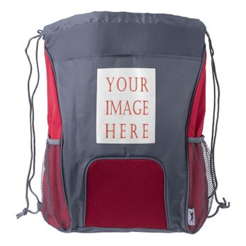 Custom Red/Gray Drawstring Backpack