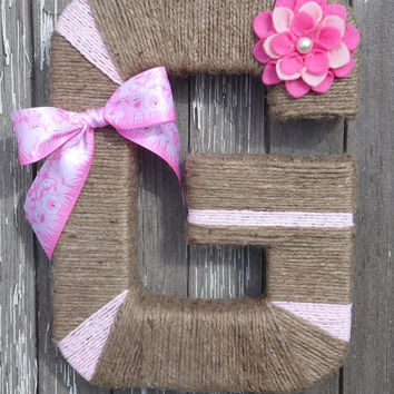 Twine Letter / nursery / rustic decor / rustic letter / wreath