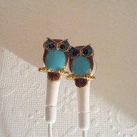 Tiny Turquoise owl earbuds