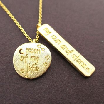 Moon of my Life, My Sun and Stars Game of Thrones Quote Charm Necklace in Gold | DOTOLY