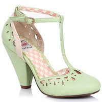 Green Perforated Leatherette Elsie Vintage T-Strap Pumps
