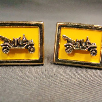 Vintage Swank Gold Tone Cuff Links | Automobile Cuff Links | Old Car Links