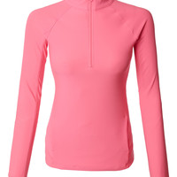 Quarter Zip Long Sleeve Active Sports Running Top with Thumb Holes