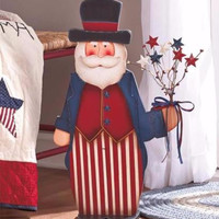 "Americana Patriotic Wooden 24"" Uncle Sam Figure Country Decor 4th of July Stars"
