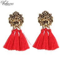 Vedawas Hot Sale Trend Rope Tassel Earrings for Women Vintage Alloy Lion Head Maxi Statement Earrings Jewelry Gift xg004