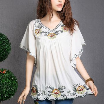 2018 Hot Sale vintage 70s mexican Ethnic Floral EMBROIDERED BOHO Hippie blouses / shirt Women Clothing Tops Tunic Free Shipping
