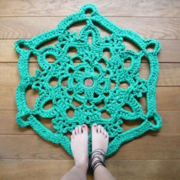 doily bath rug in green / Buy it now - Playwho.com
