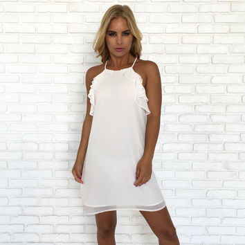Gala White Party Ruffle Shift Dress