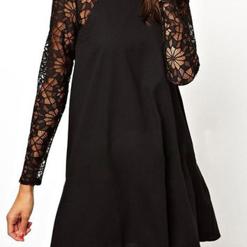 Round Neck Long Sleeve Lace Splicing A-Line Dress
