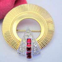 Marcel Boucher Brooch,  Red Rhinestone,  Unsigned Brooch, Art Deco Circle Pin