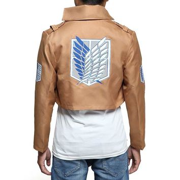 Cool Attack on Titan  Jacket no  Cosplay Costumes Recon Corps Symbol Wings Of dom Embroidery Jacket Coat AT_90_11