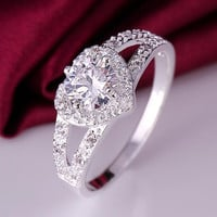 Elegant Heart Silver Ring