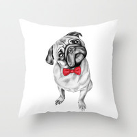 Percy Pug Throw Pillow by 13 Styx