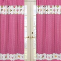 Sweet Jojo Designs Happy Owl Window Curtain Panel Pair in Pink