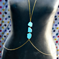 gold and turquoise slab body chain by alapopjewelry