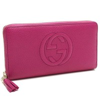 Gucci Soho Large Leather Zip Around Wallet Pink Bright Bouganvillia New