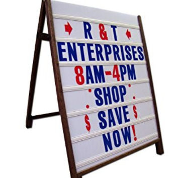 "Wood A-Frame 24""x36"" Double Sided Sidewalk Sign w/Letter Track Panels & Letters Set"