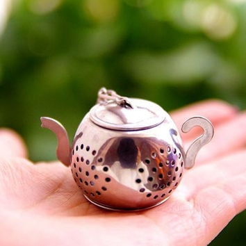 Stainless Steel Loose Teapot Shape Tea Leaf Infuser With Tray Lovely Convenient Spice Drinking Strainer Herbal Filter