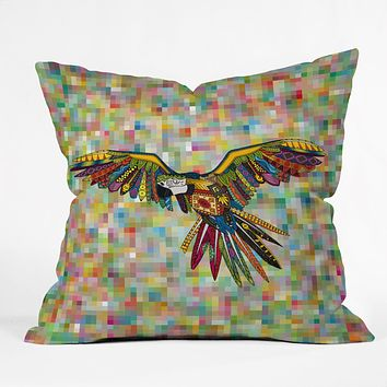 Sharon Turner Harlequin Parrot Throw Pillow