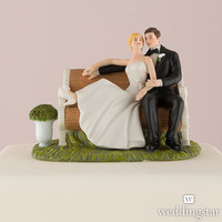 Couple Figurine on a Park Bench Cake Topper