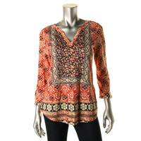 Lucky Brand Womens Modal Blend Printed Pullover Top