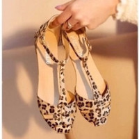 Lovely Leopard Print T-Strap Flats