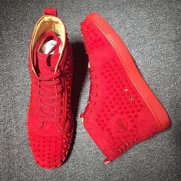 Cl Christian Louboutin Louis Spikes Mid Style #1808 Sneakers Fashion Shoes