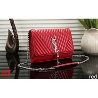 YSL Yves Saint Laurent 2018 new women elegant and elegant shoulder bag handbag F-a-BBPFCJ Red