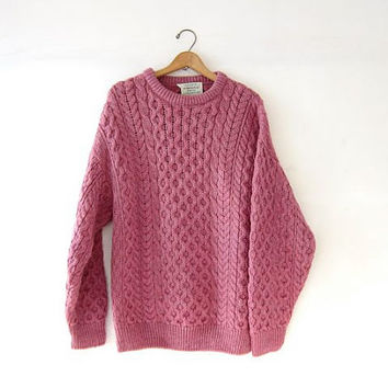 Vintage pink wool sweater. Oversized sweater. Chunky knit pullover. Irish knit sweater.