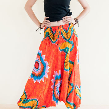 Colorful Tie Dye Print Low Crotch Harem Yoga Pants (Orange)