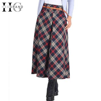 HEE GRAND Women Skirts Autumn Skirts 2017 Elegant Plaid Skirt Fashion Mid-Calf Saias Classical Wool Mulheres Saia Faldas WQB868