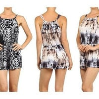 Women Tribal & Tie Dye Print Spaghetti Strap Keyhole Back One Piece Short Romper