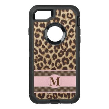 Leopard Print Monogram OtterBox Defender iPhone 7 Case