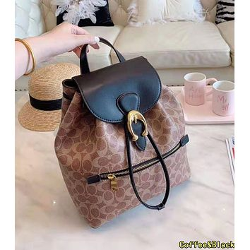 COACH High Quality Popular Women Casual Daypack School Bag Leather Backpack Coffee&Black