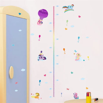 Cartoon Ponies Height Measure Chart Wall Stickers For Kids Rooms My Little Pony Wall Decal movie wall art animal decals SM6