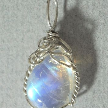 Blue Moonstone Cabochon Pendant Wire Wrapped .925 Sterling Silver