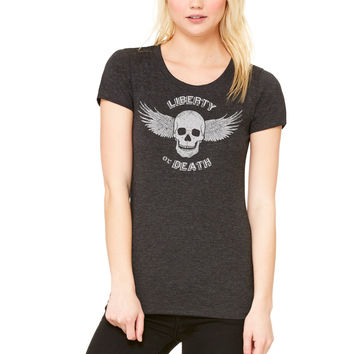 Liberty or Death Flying Skull Ladies Triblend Tee