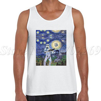 Cheapest Men tank tops Star Wars retro printed male Vest o-neck men hipster Stormtrooper Starry Night singlets
