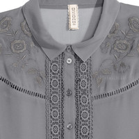 Lace-trimmed Chiffon Blouse - from H&M