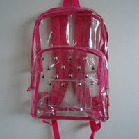 Hot Pink Clear Studded Backpack by TheWaistedYouth on Etsy