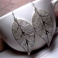 Long Leaf Earrings Silver Decorative Filigree Webbed