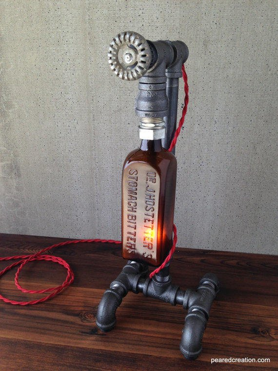 Industrial Table Lighting Antique From Newwineoldbottles On