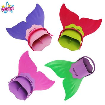 NoEnName Free shipping Girls Summer Swimming Mermaid Tail Monofin Flippers Real Swimming mermaid caudal fin Costumes Props