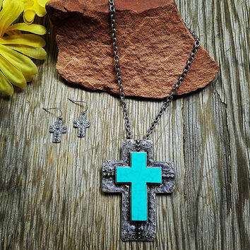 Stamped Turquoise Cross Necklace