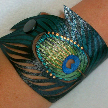 Peacock Feather Cuff Bracelet Teal, Black Faux Leather, Teal Peacock, Hand Painted, Gifts for Her