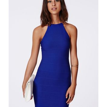 Missguided - Vivian Strappy Bandage Bodycon Dress Cobalt Blue