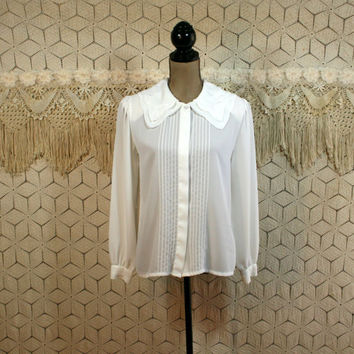 80s White Chiffon Blouse Medium Embroidered Pintuck Pleated Dressy Top Secretary Blouse Romantic Clothing 1980s Womens Vintage Clothing