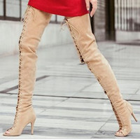 Thigh High Lace-Up Open Toe Cut Out Strap Thin High Heels Women's Winter Boots