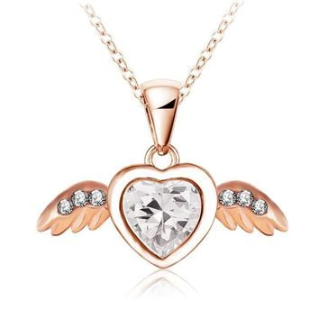 New Angel Heart Wings Necklace Rose Gold Plated Pendant Necklaces Inlay Genuine SWA Element Austrian Crystal