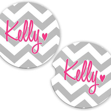 Car Coasters Gray Chevrons Pink Heart Name, Personalized Monogrammed Cup Holder Coaster, Flowers Custom Auto Gift, Sandstone Coaster